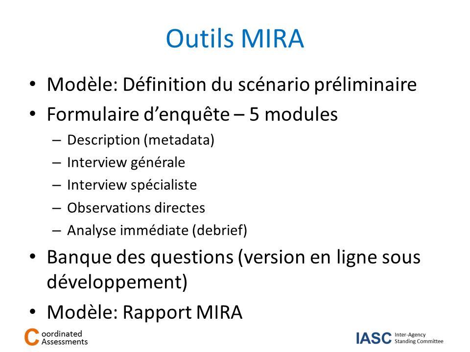 Outils MIRA Modèle: Définition du scénario préliminaire Formulaire denquête – 5 modules – Description (metadata) – Interview générale – Interview spéc