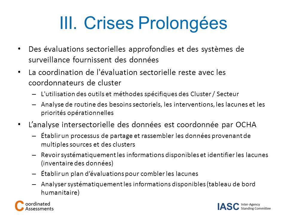 III. Crises Prolongées Des évaluations sectorielles approfondies et des systèmes de surveillance fournissent des données La coordination de l'évaluati