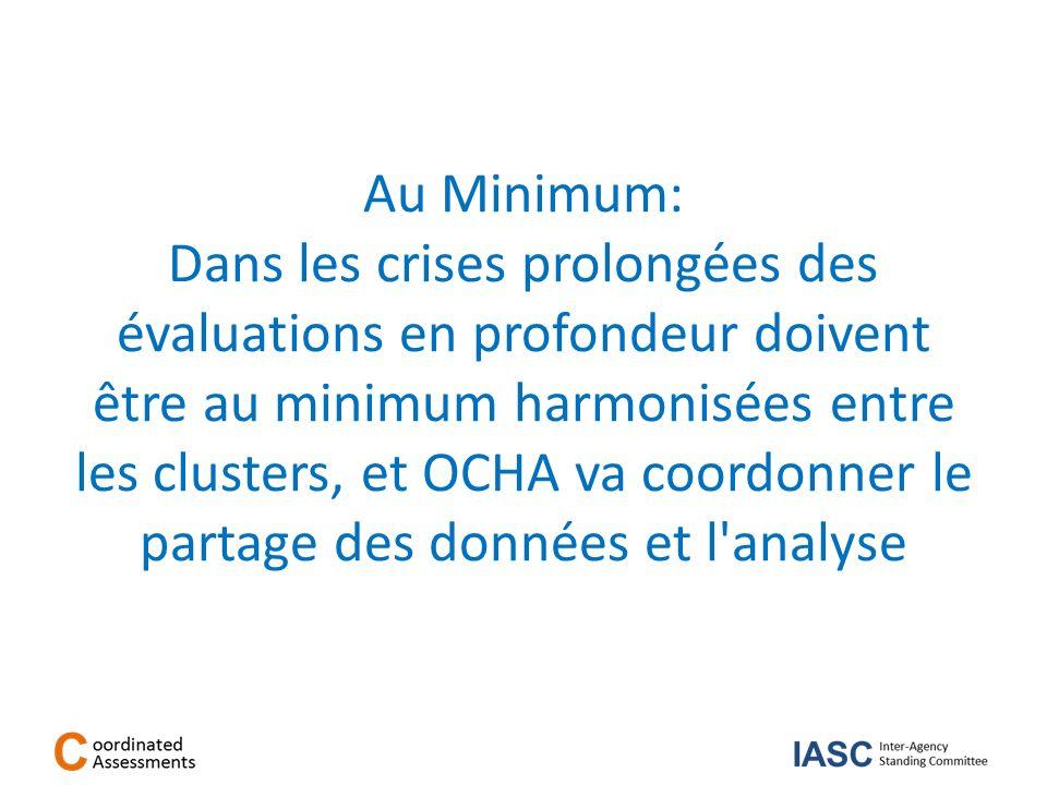 Au Minimum: Dans les crises prolongées des évaluations en profondeur doivent être au minimum harmonisées entre les clusters, et OCHA va coordonner le