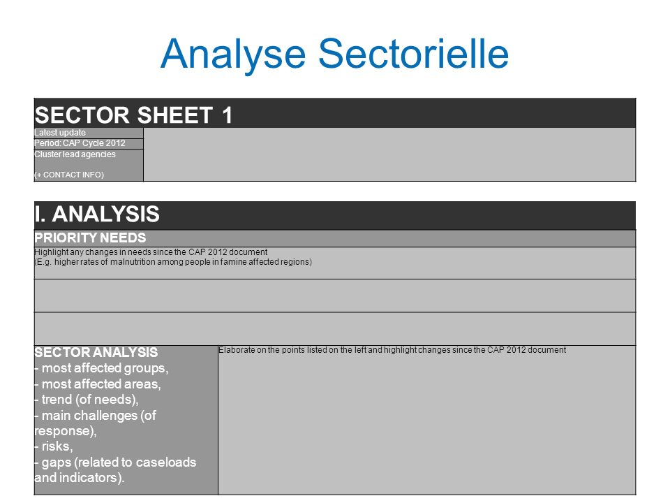 Analyse Sectorielle SECTOR SHEET 1 Latest update Period: CAP Cycle 2012 Cluster lead agencies (+ CONTACT INFO) I. ANALYSIS PRIORITY NEEDS Highlight an