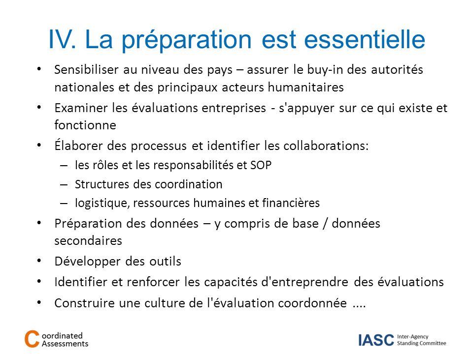 IV. La préparation est essentielle Sensibiliser au niveau des pays – assurer le buy-in des autorités nationales et des principaux acteurs humanitaires