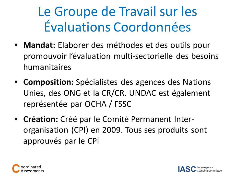 Le Groupe de Travail sur les Évaluations Coordonnées Mandat: Elaborer des méthodes et des outils pour promouvoir lévaluation multi-sectorielle des bes
