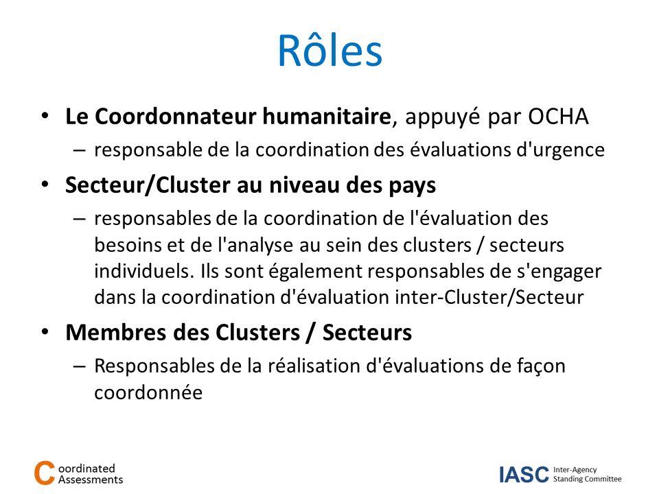 Rôles Le Coordonnateur humanitaire, appuyé par OCHA – responsable de la coordination des évaluations d'urgence Secteur/Cluster au niveau des pays – re