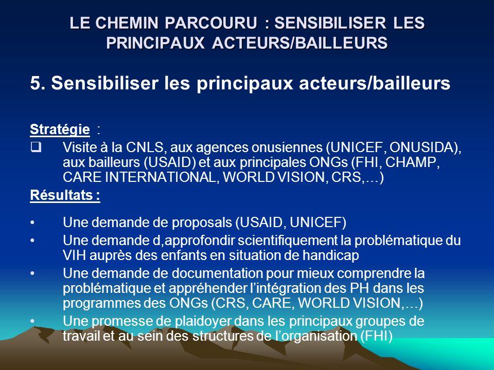 LE CHEMIN PARCOURU : SENSIBILISER LES PRINCIPAUX ACTEURS/BAILLEURS 5. Sensibiliser les principaux acteurs/bailleurs Stratégie : Visite à la CNLS, aux