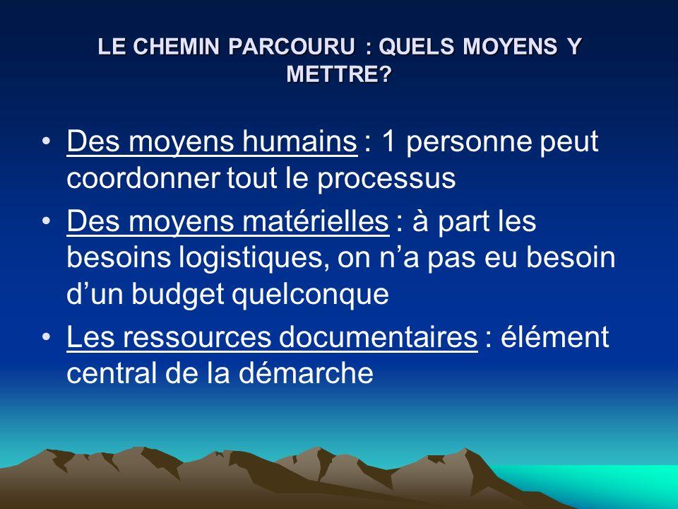 LE CHEMIN PARCOURU : QUELS MOYENS Y METTRE? Des moyens humains : 1 personne peut coordonner tout le processus Des moyens matérielles : à part les beso