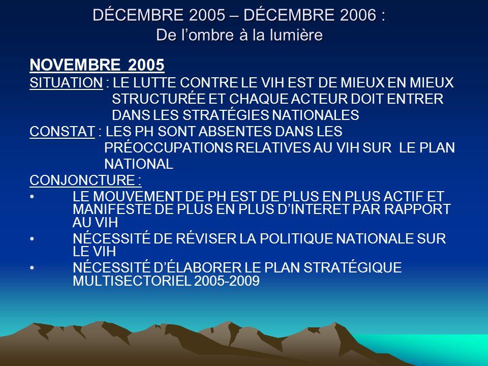 DÉCEMBRE 2005 – DÉCEMBRE 2006 : De lombre à la lumière NOVEMBRE 2005 SITUATION : LE LUTTE CONTRE LE VIH EST DE MIEUX EN MIEUX STRUCTURÉE ET CHAQUE ACT