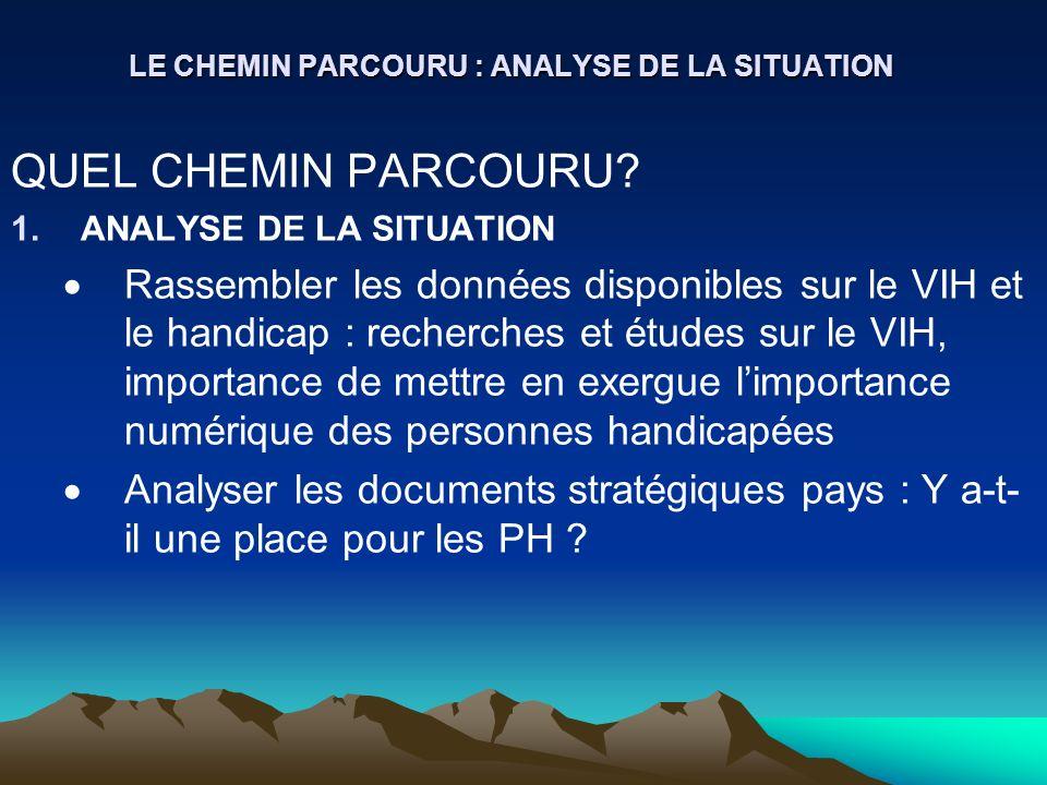 LE CHEMIN PARCOURU : ANALYSE DE LA SITUATION QUEL CHEMIN PARCOURU? 1.ANALYSE DE LA SITUATION Rassembler les données disponibles sur le VIH et le handi