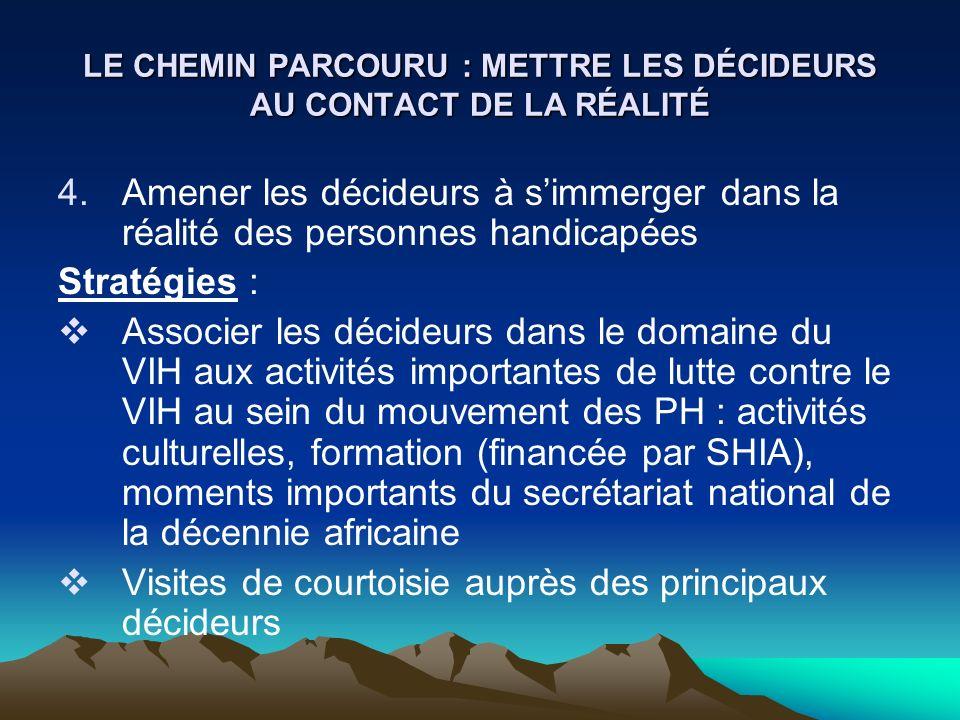 LE CHEMIN PARCOURU : METTRE LES DÉCIDEURS AU CONTACT DE LA RÉALITÉ 4.Amener les décideurs à simmerger dans la réalité des personnes handicapées Straté