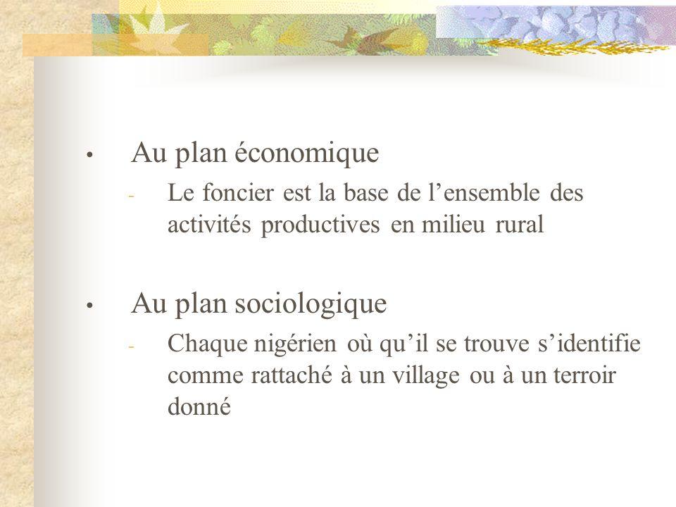 Au plan économique - Le foncier est la base de lensemble des activités productives en milieu rural Au plan sociologique - Chaque nigérien où quil se t