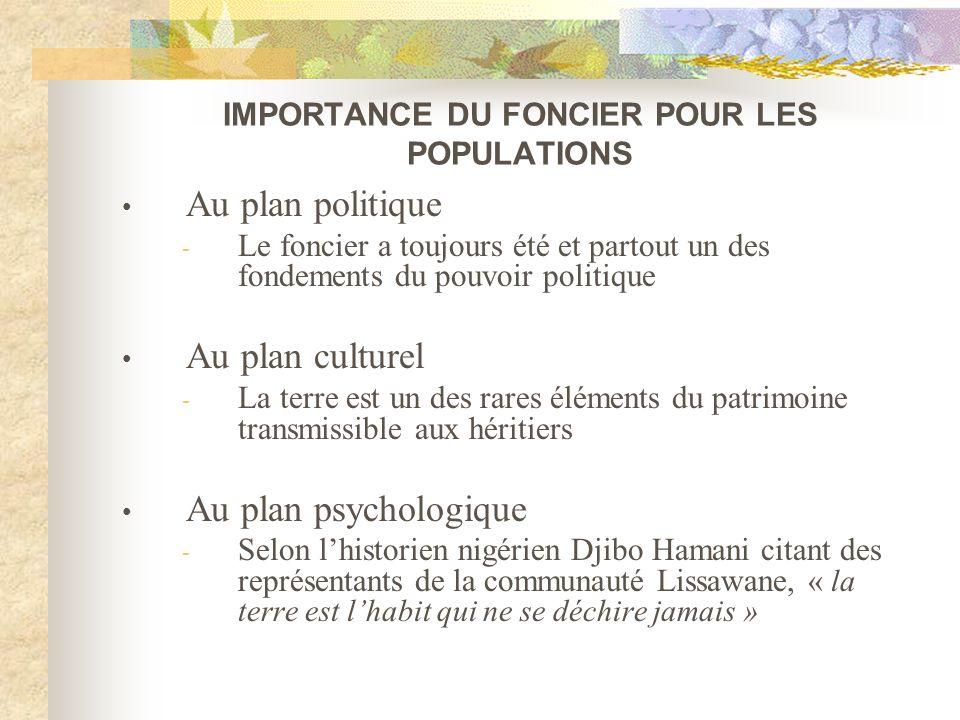 IMPORTANCE DU FONCIER POUR LES POPULATIONS Au plan politique - Le foncier a toujours été et partout un des fondements du pouvoir politique Au plan cul