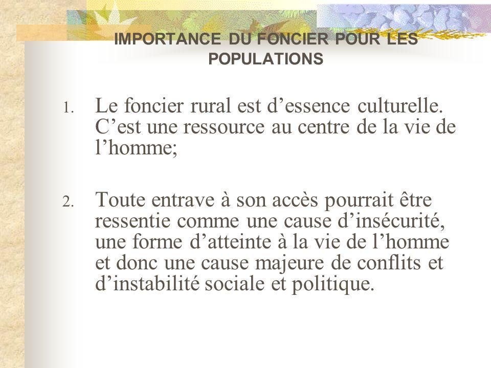 IMPORTANCE DU FONCIER POUR LES POPULATIONS 1. Le foncier rural est dessence culturelle. Cest une ressource au centre de la vie de lhomme; 2. Toute ent