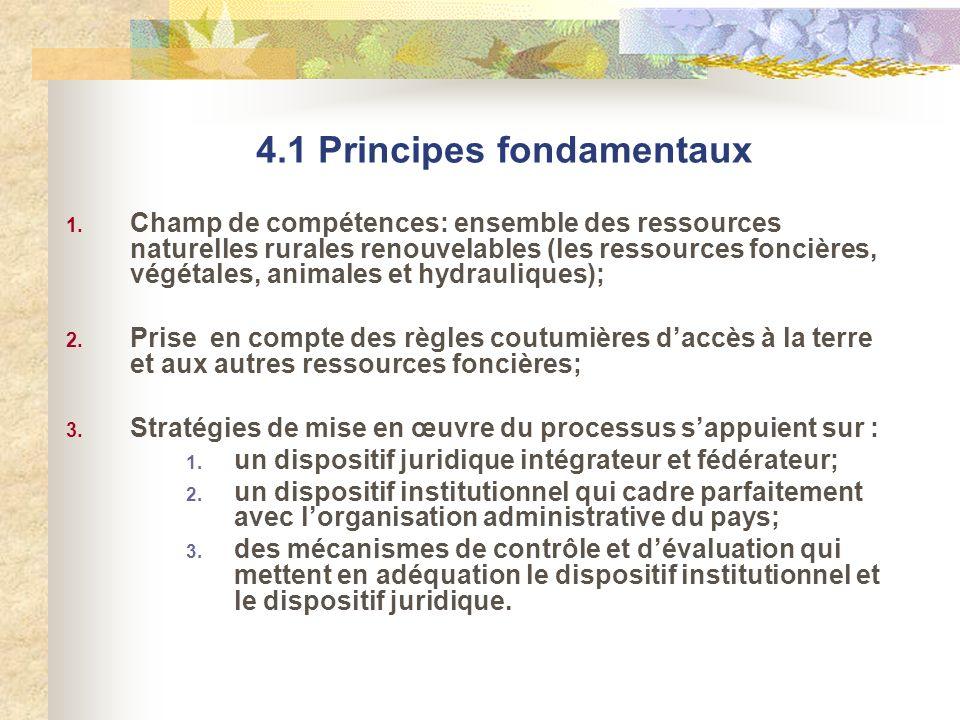 4.1 Principes fondamentaux 1. Champ de compétences: ensemble des ressources naturelles rurales renouvelables (les ressources foncières, végétales, ani