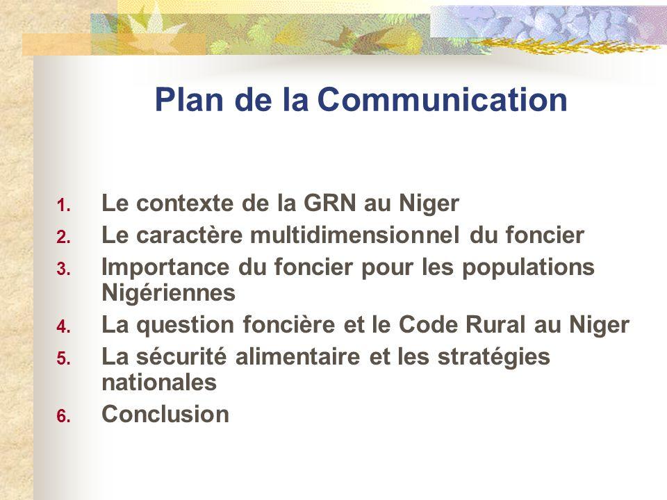 Plan de la Communication 1. Le contexte de la GRN au Niger 2. Le caractère multidimensionnel du foncier 3. Importance du foncier pour les populations