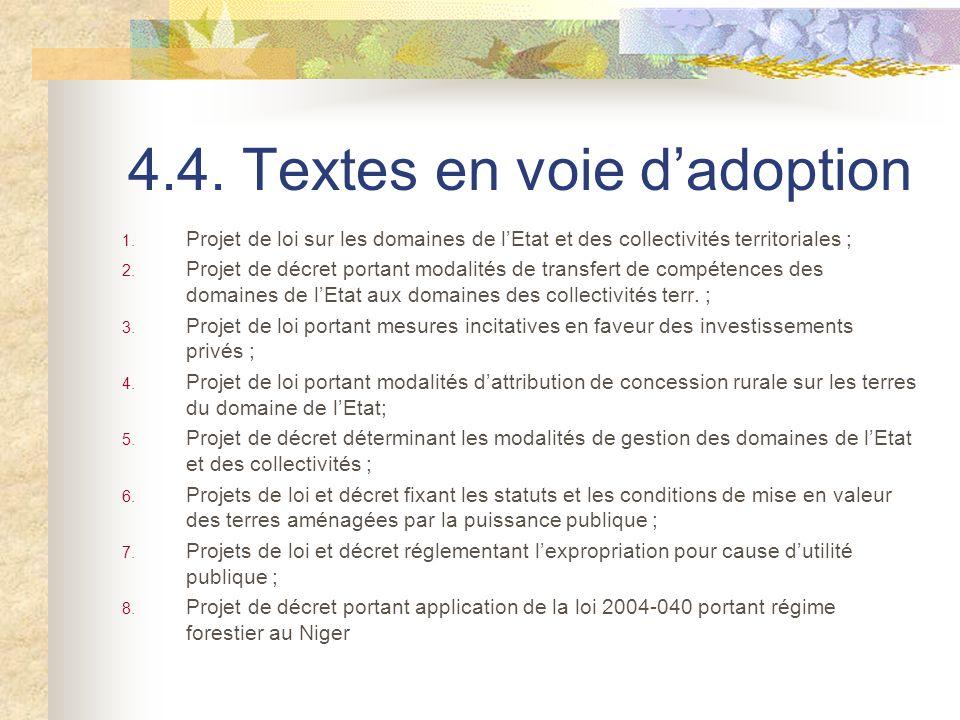 4.4. Textes en voie dadoption 1. Projet de loi sur les domaines de lEtat et des collectivités territoriales ; 2. Projet de décret portant modalités de