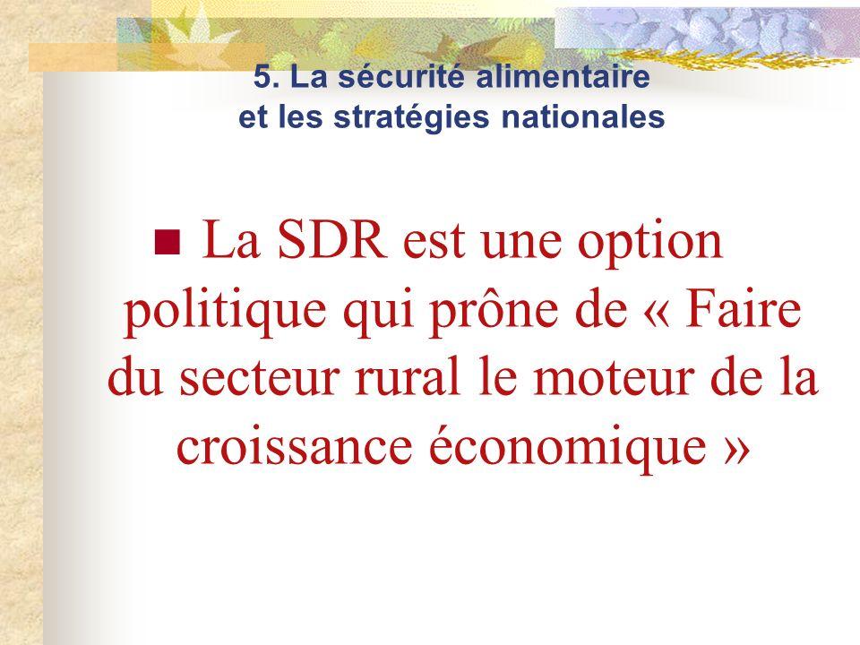 La SDR est une option politique qui prône de « Faire du secteur rural le moteur de la croissance économique » 5. La sécurité alimentaire et les straté