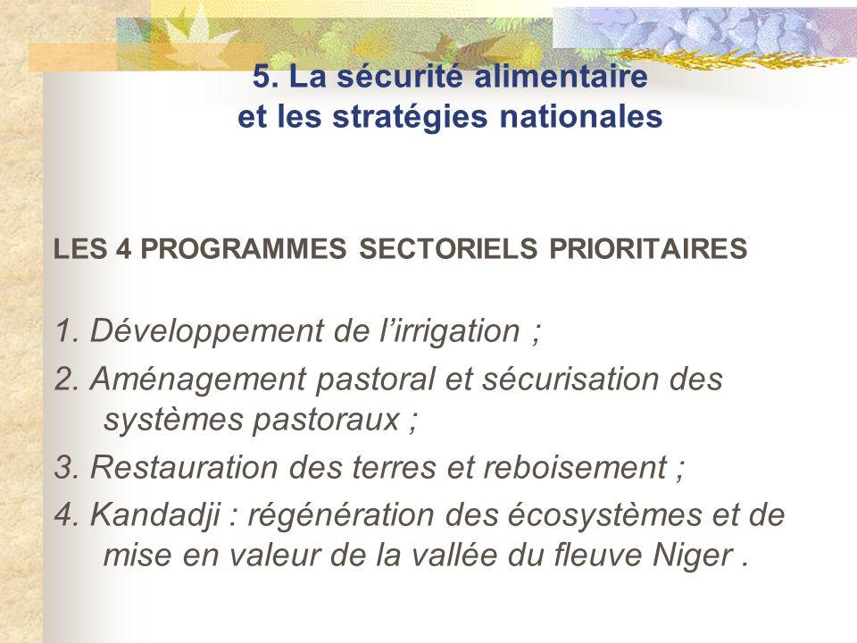 LES 4 PROGRAMMES SECTORIELS PRIORITAIRES 1. Développement de lirrigation ; 2. Aménagement pastoral et sécurisation des systèmes pastoraux ; 3. Restaur