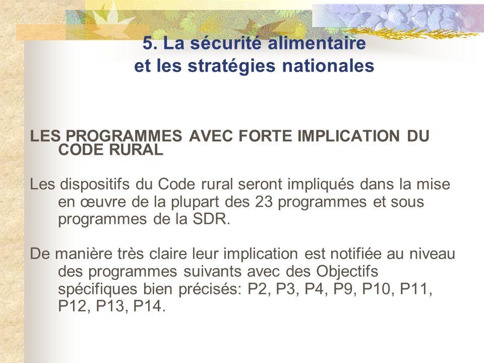LES PROGRAMMES AVEC FORTE IMPLICATION DU CODE RURAL Les dispositifs du Code rural seront impliqués dans la mise en œuvre de la plupart des 23 programm