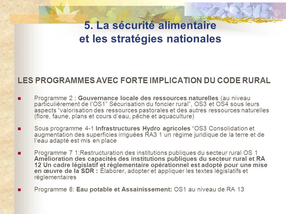 LES PROGRAMMES AVEC FORTE IMPLICATION DU CODE RURAL Programme 2 : Gouvernance locale des ressources naturelles (au niveau particulièrement de lOS1 Séc