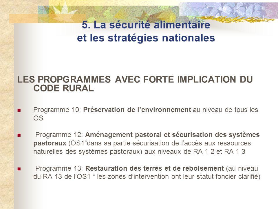 LES PROPGRAMMES AVEC FORTE IMPLICATION DU CODE RURAL Programme 10: Préservation de lenvironnement au niveau de tous les OS Programme 12: Aménagement p