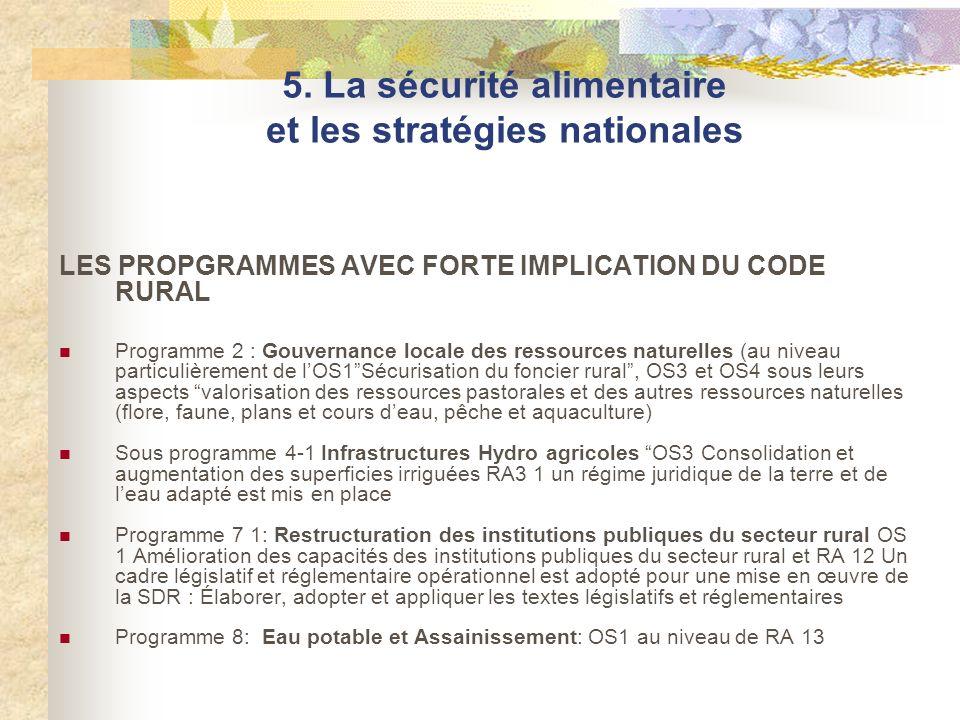 LES PROPGRAMMES AVEC FORTE IMPLICATION DU CODE RURAL Programme 2 : Gouvernance locale des ressources naturelles (au niveau particulièrement de lOS1Séc