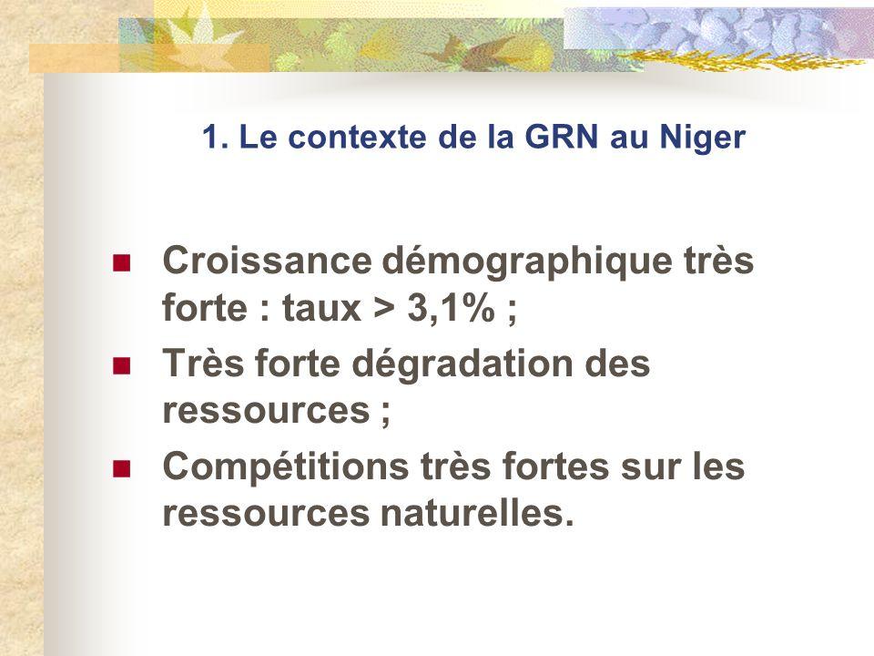1. Le contexte de la GRN au Niger Croissance démographique très forte : taux > 3,1% ; Très forte dégradation des ressources ; Compétitions très fortes