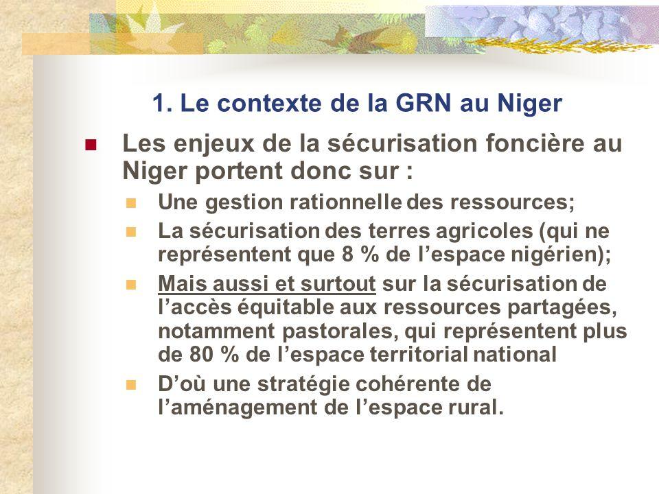 1. Le contexte de la GRN au Niger Les enjeux de la sécurisation foncière au Niger portent donc sur : Une gestion rationnelle des ressources; La sécuri