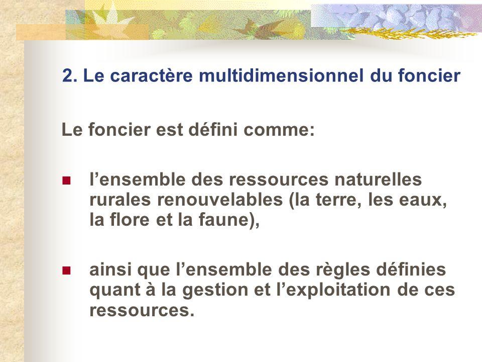 2. Le caractère multidimensionnel du foncier Le foncier est défini comme: lensemble des ressources naturelles rurales renouvelables (la terre, les eau