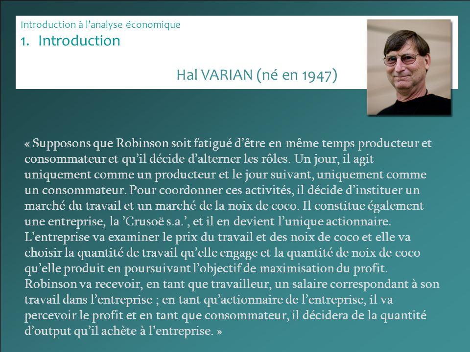 Introduction à lanalyse économique 1.Introduction « Supposons que Robinson soit fatigué dêtre en même temps producteur et consommateur et quil décide