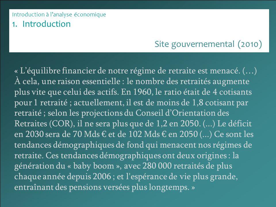 Introduction à lanalyse économique 1.Introduction « Léquilibre financier de notre régime de retraite est menacé. (…) À cela, une raison essentielle :
