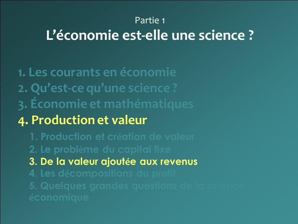 Partie 1 Léconomie est-elle une science ? 1. Les courants en économie 2. Quest-ce quune science ? 3. Économie et mathématiques 4. Production et valeur