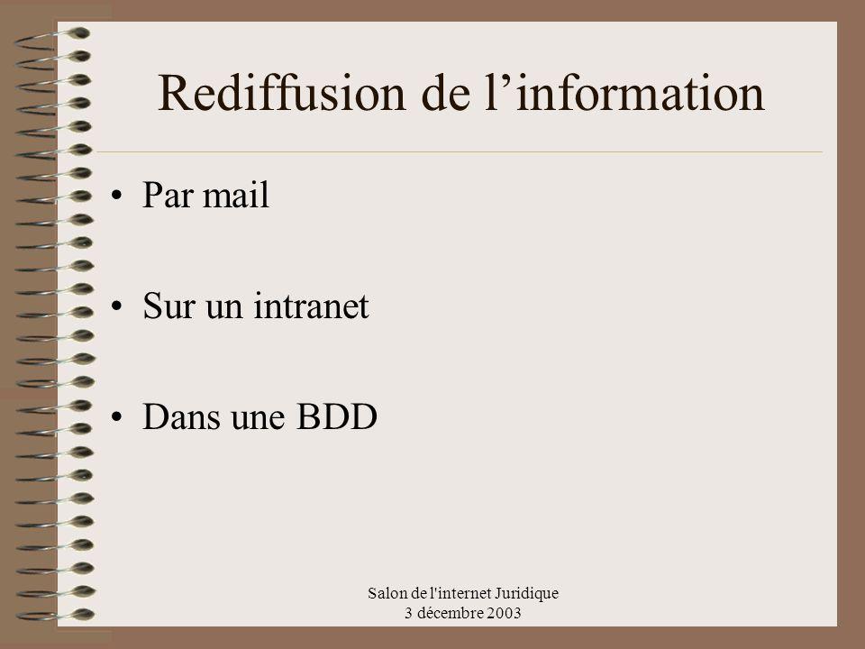 Salon de l'internet Juridique 3 décembre 2003 Rediffusion de linformation Par mail Sur un intranet Dans une BDD