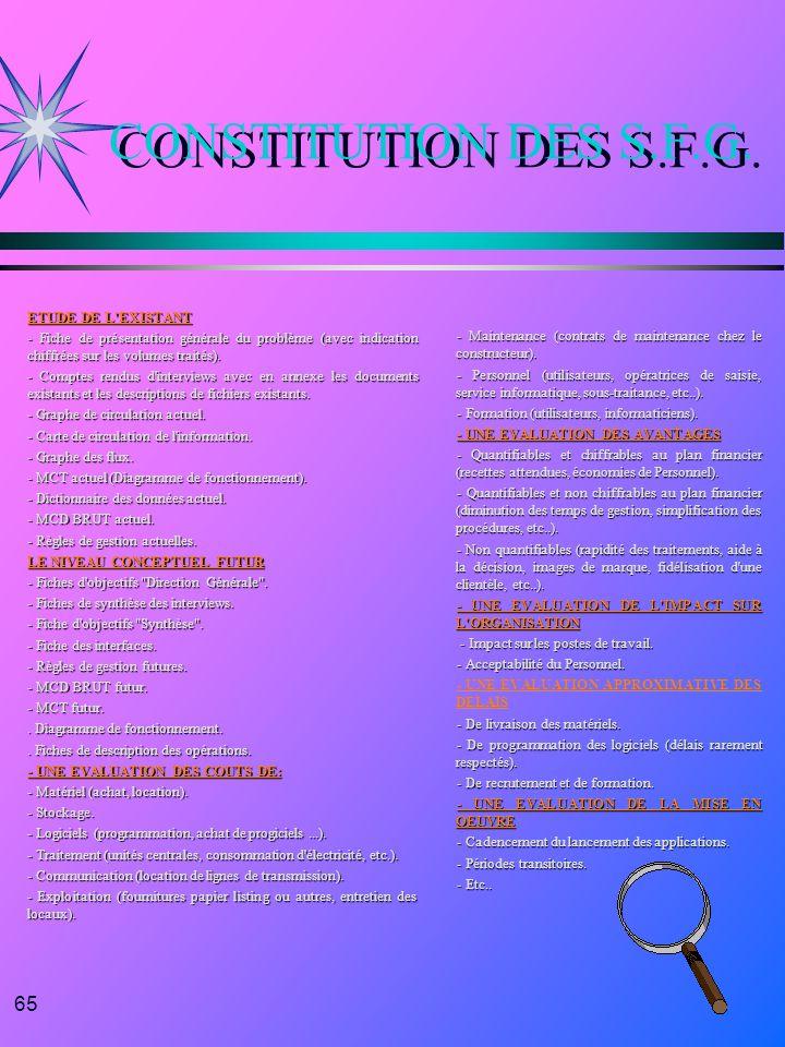 65 CONSTITUTION DES S.F.G. ETUDE DE L'EXISTANT - Fiche de présentation générale du problème (avec indication chiffrées sur les volumes traités). - Com