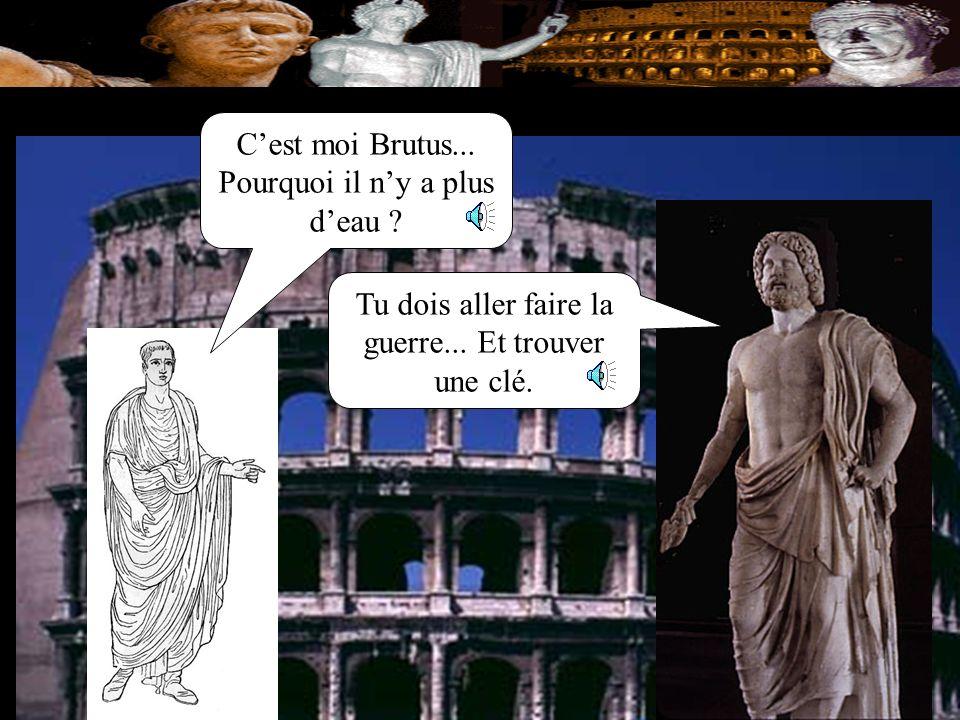 Je suis Jupiter, le dieu de la foudre. Brutus, approche! Un dieu Romain apparait: