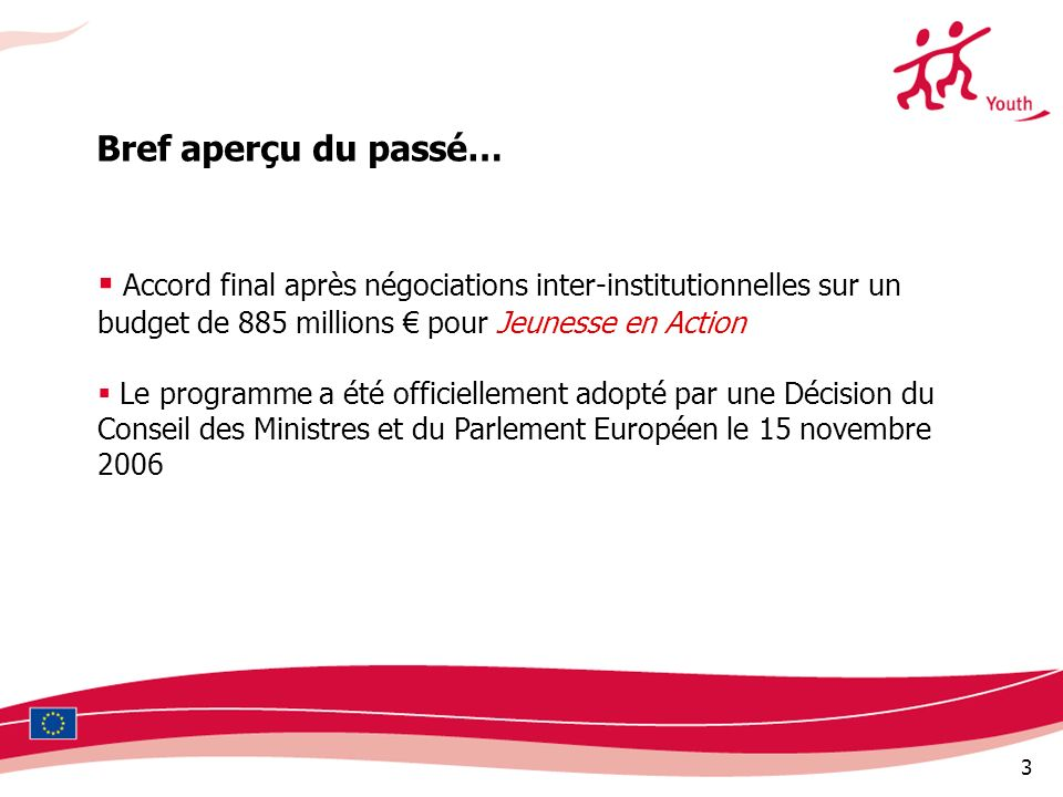 3 Accord final après négociations inter-institutionnelles sur un budget de 885 millions pour Jeunesse en Action Le programme a été officiellement adop