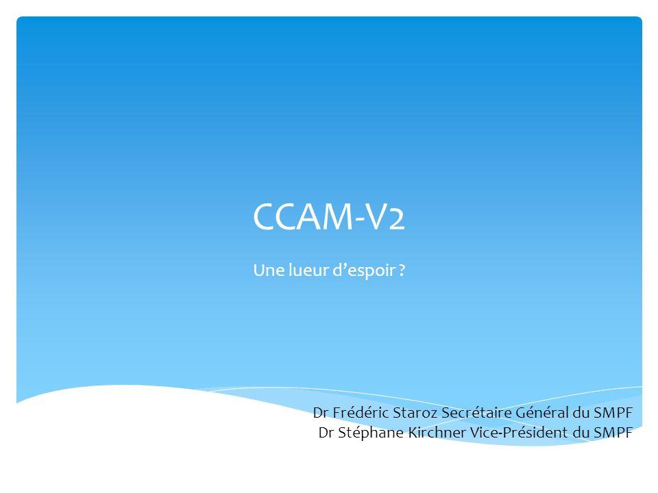 CCAM-V2 Une lueur despoir ? Dr Frédéric Staroz Secrétaire Général du SMPF Dr Stéphane Kirchner Vice-Président du SMPF