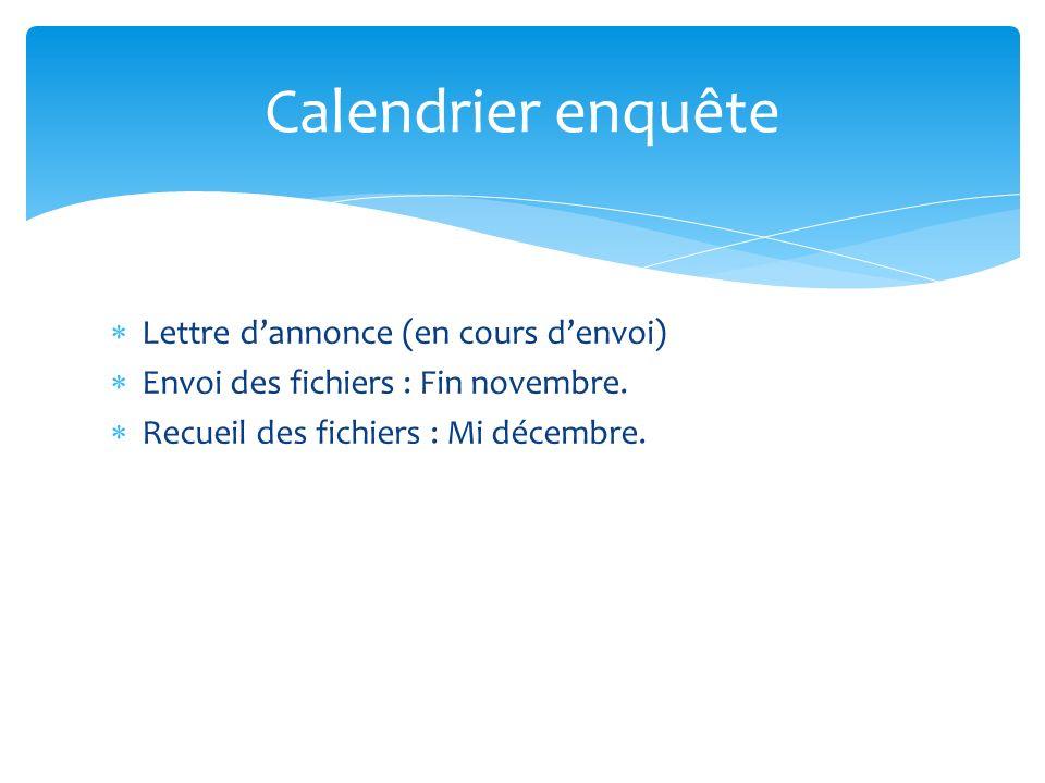Lettre dannonce (en cours denvoi) Envoi des fichiers : Fin novembre. Recueil des fichiers : Mi décembre. Calendrier enquête
