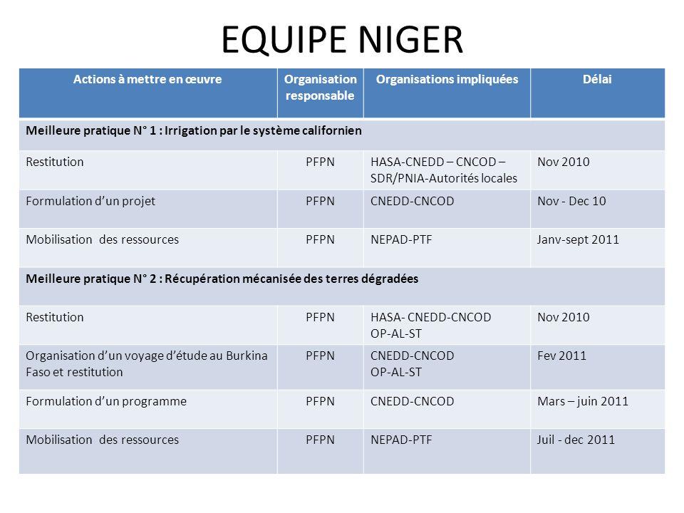 EQUIPE NIGER Actions à mettre en œuvreOrganisation responsable Organisations impliquéesDélai Meilleure pratique N° 1 : Irrigation par le système calif