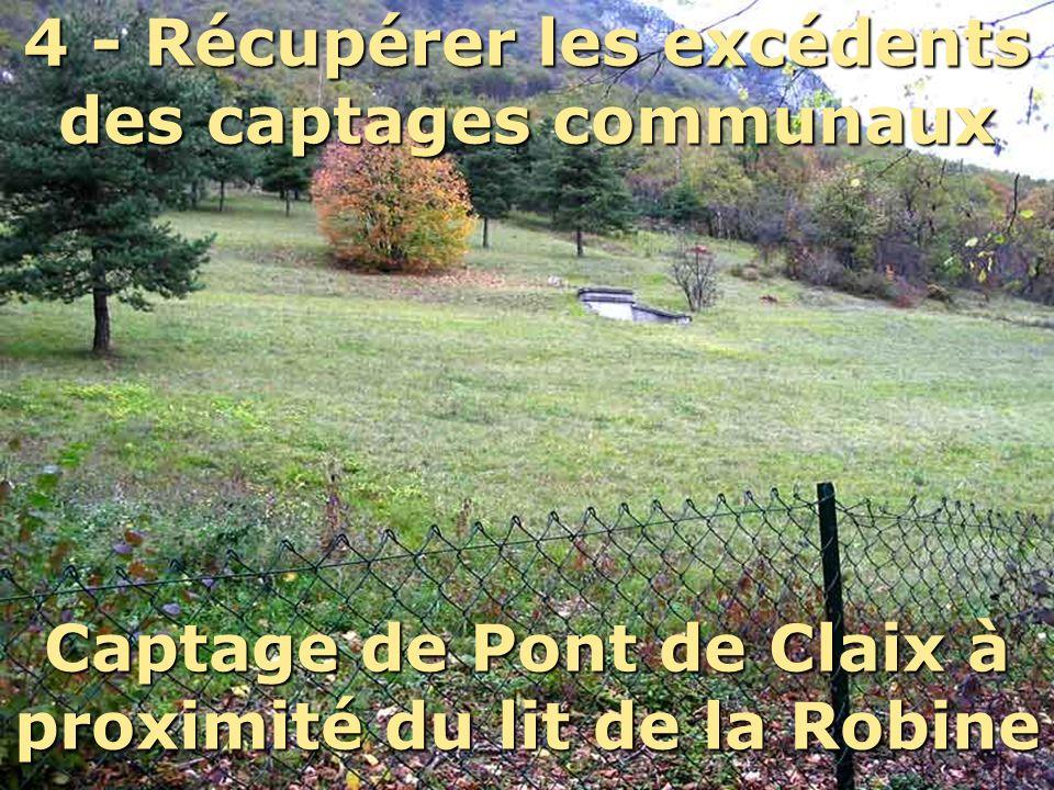 4 - Récupérer les excédents des captages communaux Captage de Pont de Claix à proximité du lit de la Robine