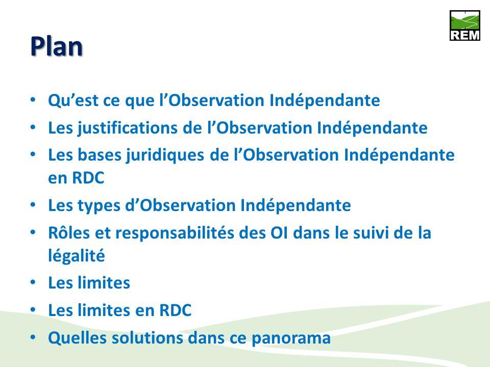 Plan Quest ce que lObservation Indépendante Les justifications de lObservation Indépendante Les bases juridiques de lObservation Indépendante en RDC Les types dObservation Indépendante Rôles et responsabilités des OI dans le suivi de la légalité Les limites Les limites en RDC Quelles solutions dans ce panorama