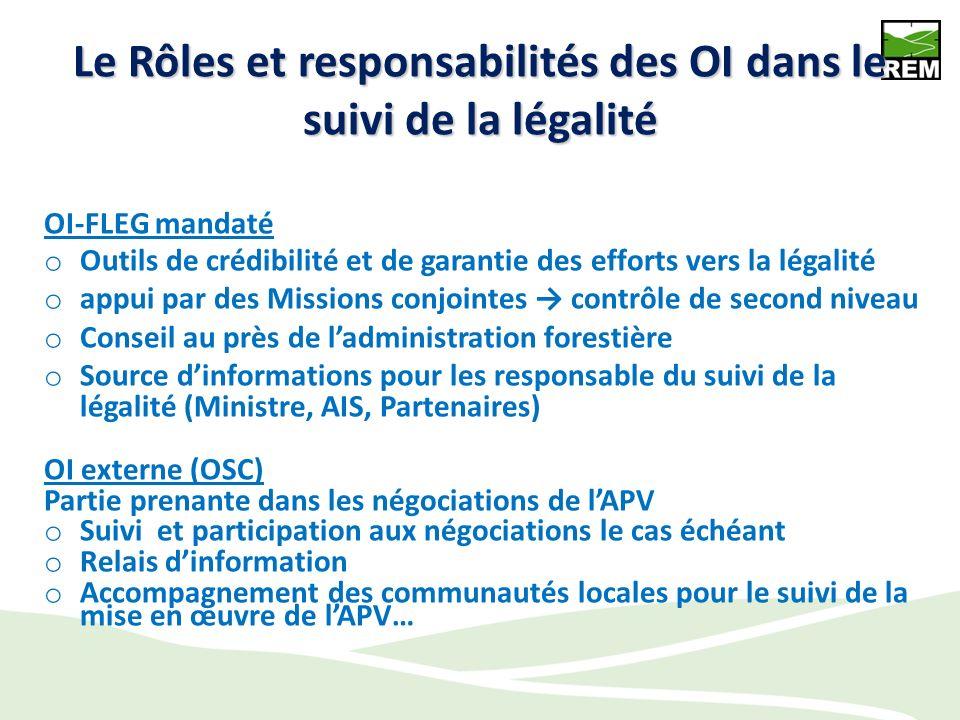 Le Rôles et responsabilités des OI dans le suivi de la légalité OI-FLEG mandaté o Outils de crédibilité et de garantie des efforts vers la légalité o appui par des Missions conjointes contrôle de second niveau o Conseil au près de ladministration forestière o Source dinformations pour les responsable du suivi de la légalité (Ministre, AIS, Partenaires) OI externe (OSC) Partie prenante dans les négociations de lAPV o Suivi et participation aux négociations le cas échéant o Relais dinformation o Accompagnement des communautés locales pour le suivi de la mise en œuvre de lAPV…