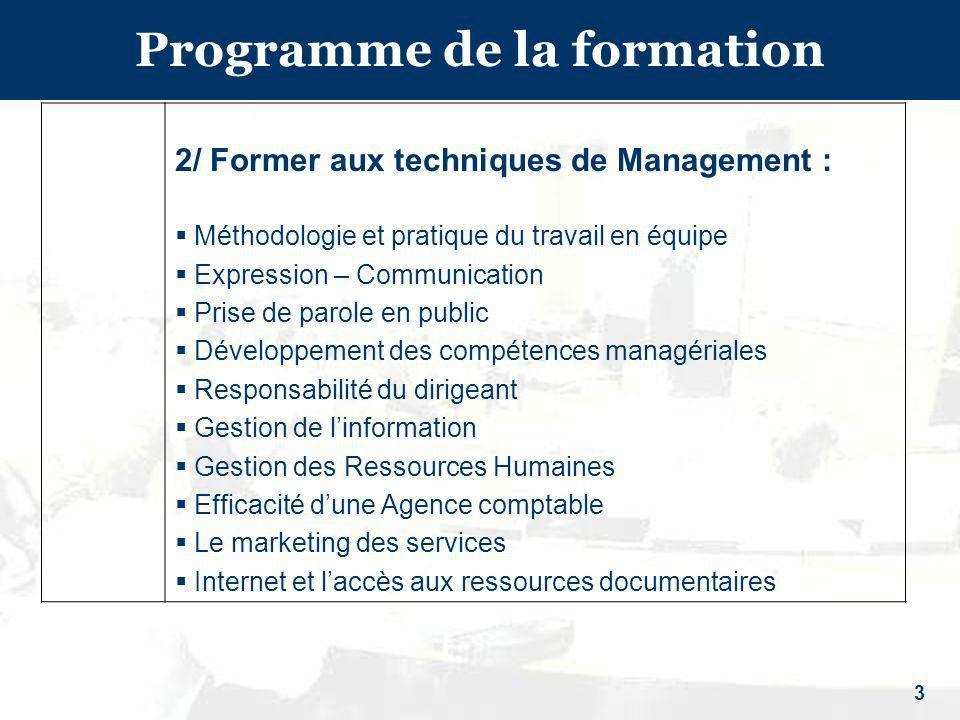 3 Programme de la formation 2/ Former aux techniques de Management : Méthodologie et pratique du travail en équipe Expression – Communication Prise de