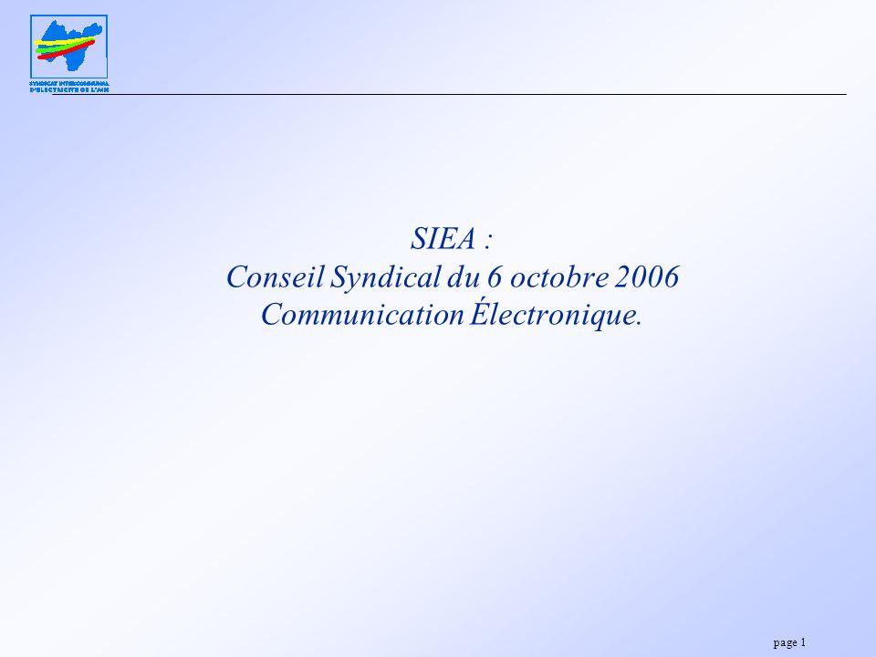 page 1 SIEA : Conseil Syndical du 6 octobre 2006 Communication Électronique.