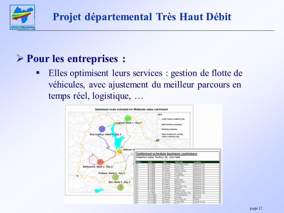 page 12 Projet départemental Très Haut Débit Pour les entreprises : Elles optimisent leurs services : gestion de flotte de véhicules, avec ajustement