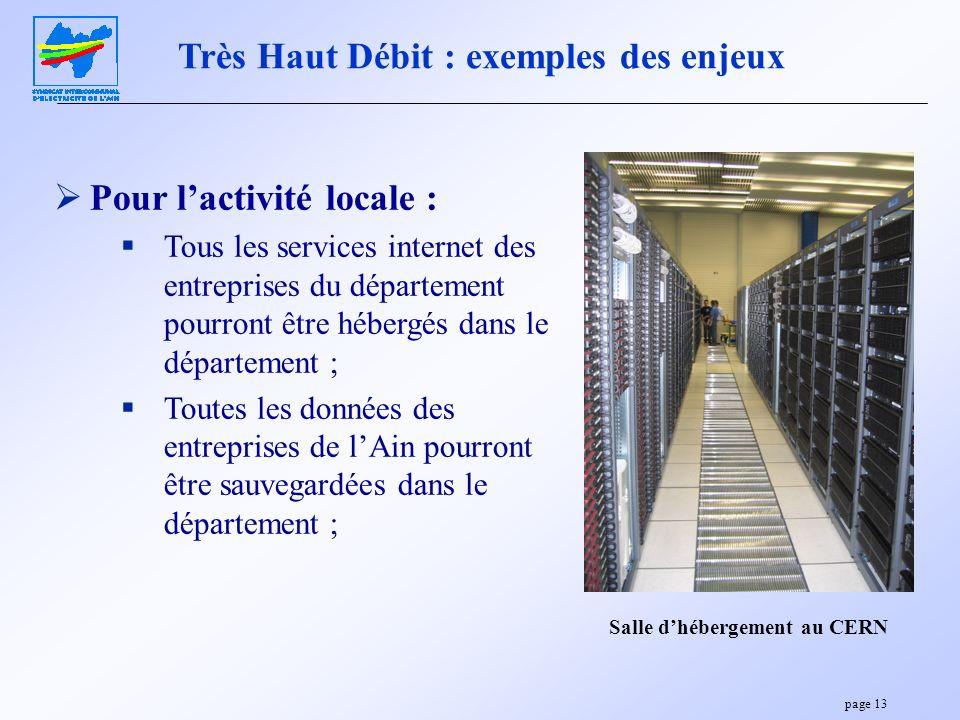 page 13 Très Haut Débit : exemples des enjeux Pour lactivité locale : Tous les services internet des entreprises du département pourront être hébergés