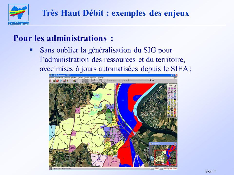page 16 Pour les administrations : Sans oublier la généralisation du SIG pour ladministration des ressources et du territoire, avec mises à jours auto