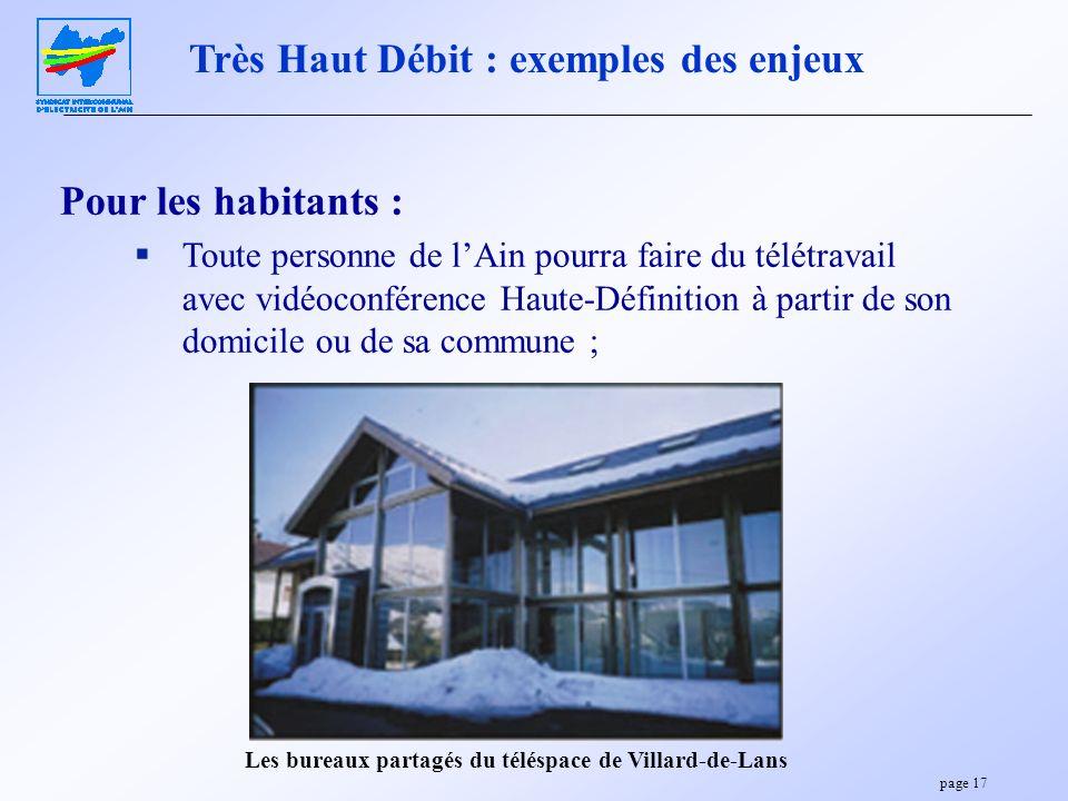 page 17 Pour les habitants : Toute personne de lAin pourra faire du télétravail avec vidéoconférence Haute-Définition à partir de son domicile ou de s