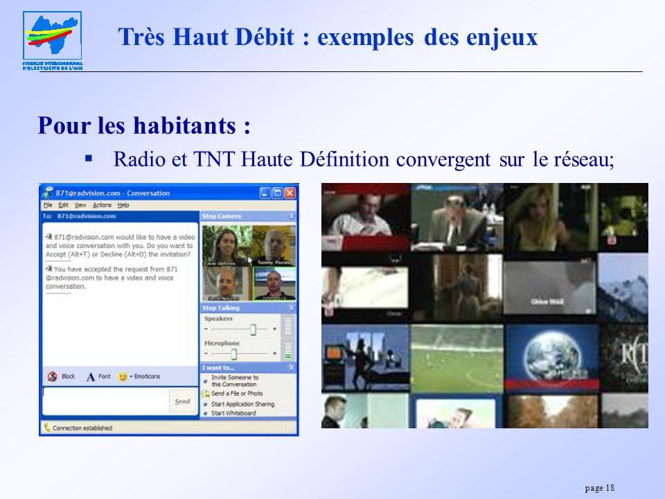 page 18 Pour les habitants : Radio et TNT Haute Définition convergent sur le réseau; Très Haut Débit : exemples des enjeux