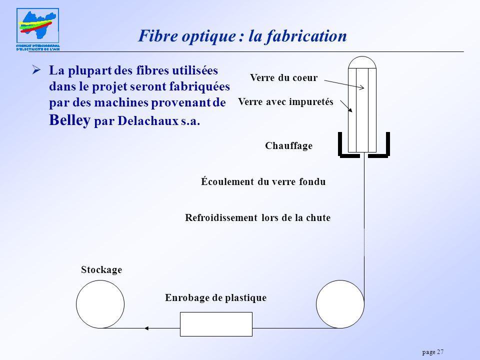 page 27 Fibre optique : la fabrication La plupart des fibres utilisées dans le projet seront fabriquées par des machines provenant de Belley par Delac