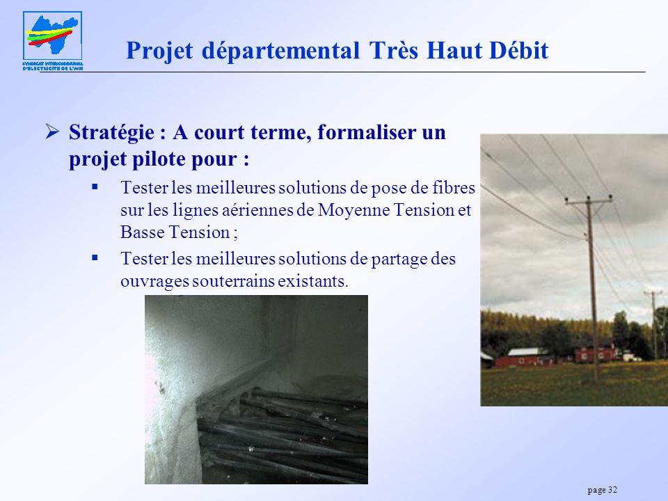 page 32 Projet départemental Très Haut Débit Stratégie : A court terme, formaliser un projet pilote pour : Tester les meilleures solutions de pose de