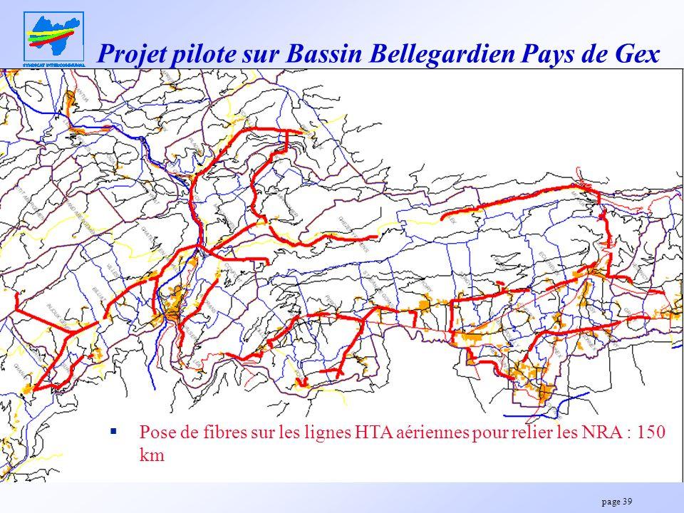 page 39 Projet pilote sur Bassin Bellegardien Pays de Gex Pose de fibres sur les lignes HTA aériennes pour relier les NRA : 150 km